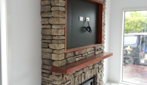1e Feature fireplace Backdrop with packer